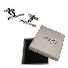 Mens Silver Gold Rifle Gun Cufflinks & Gift Box By Onyx Art