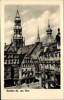 Zwickau Sachsen alte DDR s/w Postkarte 1955 Straßenpartie mit Blick auf den Dom