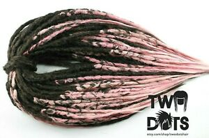 Ombre Brown & Pink Crochet Dreads. SE or DE Dreads 20 Inches Burning Man Hippie