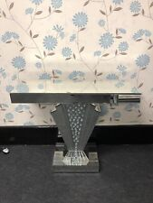 Sparkly Silver Floating Crystal Daimante Effect Mirrored V Shape Console Table