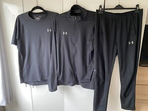 Mens Under Armour Tracksuit 3 Piece Set Black Size Large And XL (extra Large)