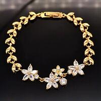 Women 18K Gold Plated Cute Flowers AAA+ CZ Stones Bracelet Jewelry Ladies Gift