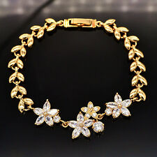 Women 18K Gold Plated Cute Flowers AAA+ CZ Stones Bracelet Jewelry Ladies Gift