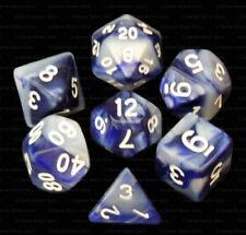 New 7 Piece Dark Blue Light Blue Gemini Polyhedral Dice Set – Navy Bag – RPG D&D