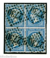 Classique France Napoléon N°22 oblitéré en bloc de 4 GC 2730 Orange