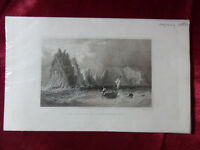 Antique engraving of NEEDLES & SCRATCHELL'S BAY, ISLE OF WIGHT c1830 Art print