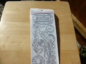 CLEAR RUBBER STAMPS SPRING FLOWERS BIRD VASE HEART IDEAL FOR CARD MAKING