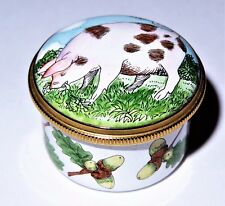 Staffordshire Enamels Box - Pink Pig With Brown Patches - Acorns & Oak Leaves