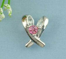 2 Silver Crystal Ribbon Awareness Charms ~ UK Seller Plus Lovely Free Gift Pouch