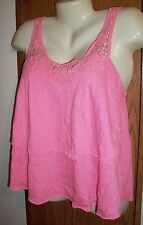 M tank top pink cupcake ruffle crochet lace split back flow airy 7 9 medium HOT