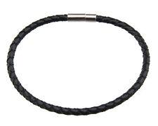 Bracelet cuir tressé Ø4mm Homme Femme fermoir clips metal ethnique noir BB 21045
