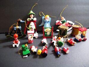 Vintage Lot of 20 Regular Small & Mini Wood Hand Painted Christmas Ornaments