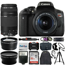 Canon Eos Rebel T6I Camera + 4 Lens Kit 18-55mm stm + 75-300mm + Top Accessories