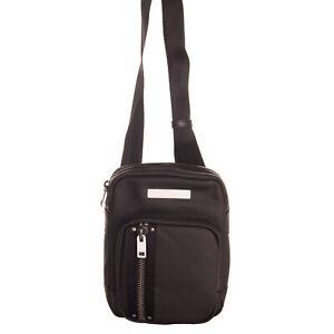 RRP €130 DIESEL Crossbody Shoulder Bag Aged Metal PU Leather Logo Detail Zipped