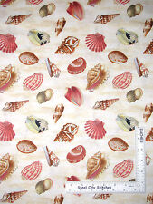 Sea Shell Cotton Fabric Beach Ocean Seashell Wilmington Seaside Wonders ~ Yard