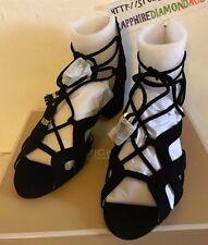 Michael Kors Mirabel Suede Block Heel Ghillie Sandals BLACK SIZE 7M  37M NEW!