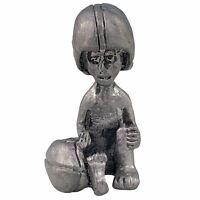 Sitting Boy Playing Football Helmet Pewter Figurine Gray Grey Metal Vintage