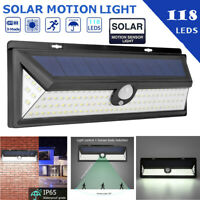 118LED Outdoor Solar Lights Motion Sensor Wall Light Waterproof Garden Yard Lamp