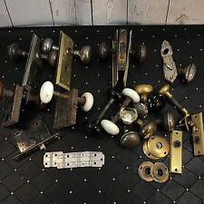 Large Lot Antique Vtg Door Hinges Knobs Locks Plates Keyhole Brass Glass