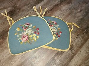 Vintage Cushions For Kitchen Chairs Seat Cushion Mats Flowers Yellow Blue