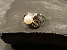 Toller 835 Silber Ring Perle Patina Jugendstil Art Deco Defekt Bastler Vintage