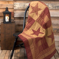 NINEPATCH STAR 50x60 QUILT THROW : RUSTIC RED CABIN PRIMITIVE COUNTRY BLANKET
