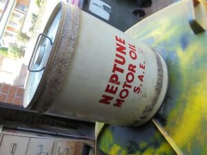 VINTAGE 1950 NEPTUNE 4 IMP GALLONS OIL TIN