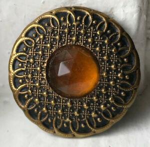Antique Gay nineties JEWEL button~Brass~Golden amber glass stone~#07