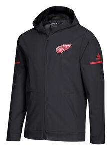 Adidas NHL Sz L Detroit Red Wings Squad Sideline Woven Zip Hood Jacket Mens $120