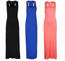 Viscose Patternless Sleeveless Maxi Dresses for Women