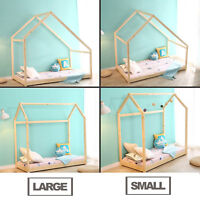 Children House Frame Bed Floor Bed Bedroom Furniture Premium Wood 2 Dimensions