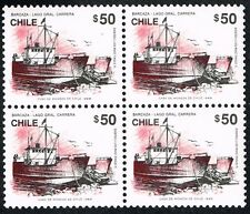 CHILE 1989 STAMP # 1377 MNH BLOCK OF FOUR FERRY SHIP