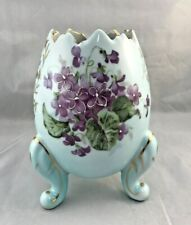 Vintage Pale Blue Broken Egg Footed Planter Dish Purple Flowers Parma A-183