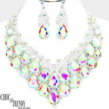 HIGH END AURORA BOREALIS CHUNKY GLASS CRYSTAL FORMAL NECKLACE JEWELRY SET