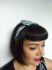 Serre tête fin semi rigide noeud tissu rayures bleu blanc coiffure rétro pinup