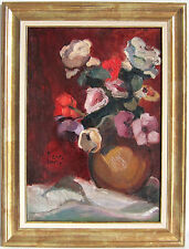 PIERRE FAVRE~WELL-LISTED ARTIST~STILL-LIFE WITH FLOWERS~ORIGINAL OIL PAINTING