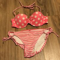 Victorias Secret Bikini Two Piece Swim Bathing Suit Pink Polka Dot Small 34 A
