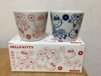 Sanrio Hello Kitty Mino Ware Pair of Cups Red & Blue In Box New