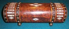 Antique burr walnut mother of pearl brass glove box trinket box