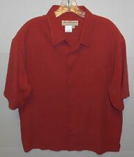 Norm Thompson 100% Silk Button Front Short Sleeve Rusty Orange Shirt Mens XL
