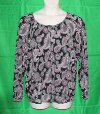 Michael Kors 3/4 Sleeve Knit Blouse Top Womens 2x Paisley