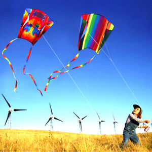 Large Coloful Parafoil Kite Outdoor Sport Soft Toy Fly Kite Toy With Line HS^qi