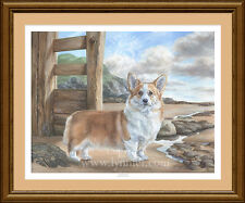 WELSH CORGI Fine Art Limited Edition dog print 'Beachcomber' by Lynn Paterson
