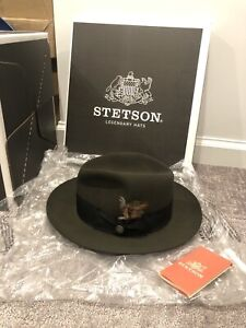 New STETSON TEMPLE Fedora 7 3/8 Sage