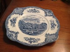 """JOHNSON BROTHERS OLD BRITAIN CASTLES Blue SQUARE SALAD PLATE 8""""  - ENGLAND"""