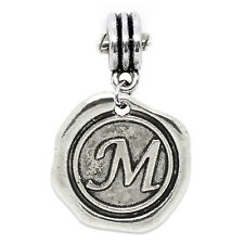 Letter M Alphabet Initial Wax Stamp Dangle Charm for Silver European Bracelets