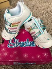 Nib Sketchers White Blue Velcro Tennis Shoes Girl Sz 7