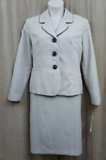 Evan Picone Skirt Suit Sz 16 Khaki Black City Chic Business Cocktail Skirt Suit