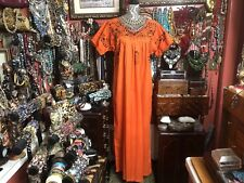 Very Pretty Vintage Orange Oaxacan Mexican With Brown Embroidery Dress Xl