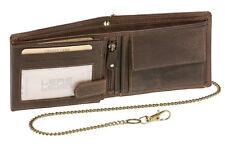 Geldbörse Portmonee Portemonnaie mit Kette LEAS MCL Vintage Echt-Leder, braun